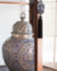 Jennie Schmid Design, Interior Design, Designer, Switzerland, Lausanne, Villa, Blue and White Moroccan vase with silver detail