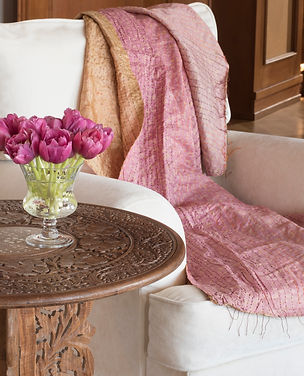 Jennie Schmid Design, Interior Design, Designer, Switzerland, Lausanne, Villa, Rosewood side table with peal inlay from Sri Lanka, Silk throw from India
