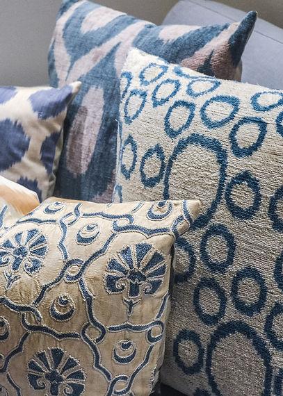 Jennie Schmid Design, Interior Design, Designer, Switzerland, Lausanne, Villa, Portfolio, Selection of the ikat and Suzani pillows from turkey