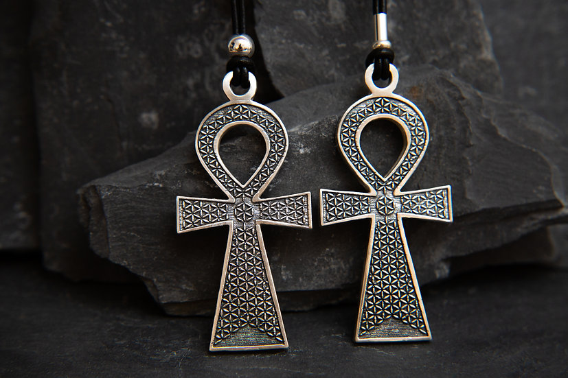 Adom. 925 large Ankh pendant with Seed of life sacred geometry on leather chain