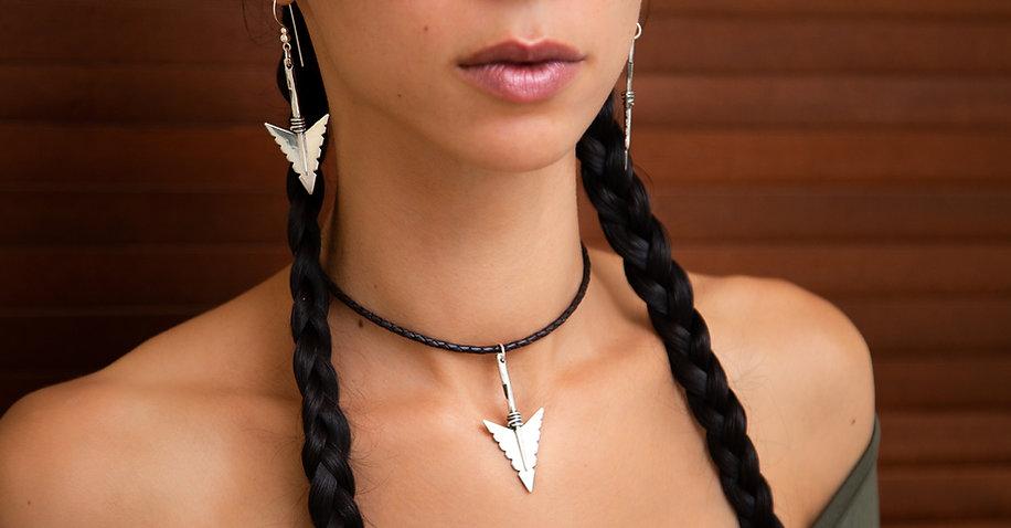 Cheveyo 925 Sterling Silver arrowhad pendant hallmarked, molax chopa tribe