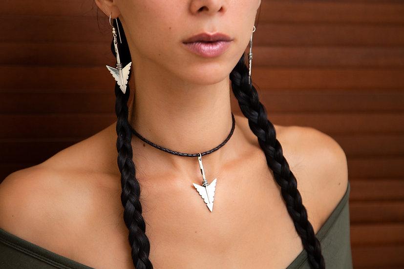Cheveyo. Tribal silver Arrow head on braided leather, 925 Hallmarked