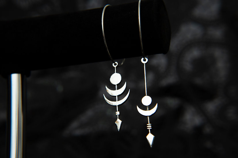 Cosmic Twilight and Midnight Eclipse moon mis matched hoop earrings. 925