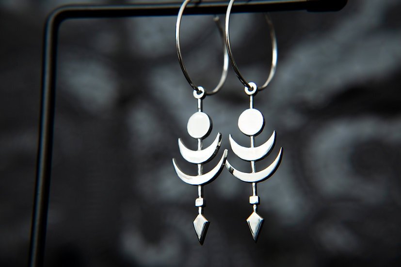 Cosmic Twilight Moon, Sun and Arrow silver hoop earrings. 5 sizes. 925 Sterling