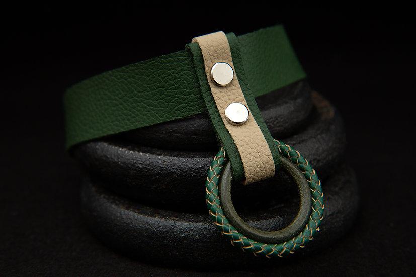 Maona - layered Green leather choker, with green & cream O ring pendant