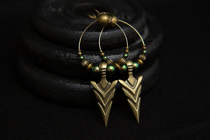 Athena, Tribal hoop arrow earrings with green Swarvoski pearls. Native Fusion