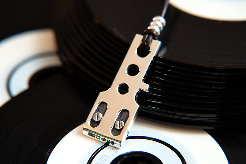 Technic's record player Stylus big pendant, 925 Sterling Silver Hallmarked