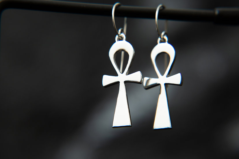 Ahava. Egyptian Ankh 925 Sterling Silver earrings.