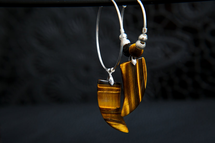 Azai, Tigers eye gemstone tooth hoop earrings, mix and match. Sterling Silver.