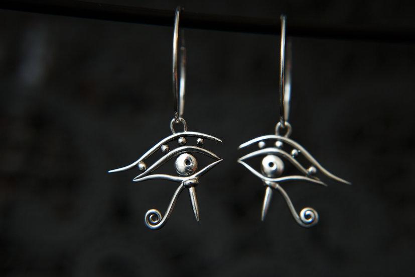 Amala. Silver Eye of Horus / Ra hoop earrings. Sterling Silver all seeing eye.
