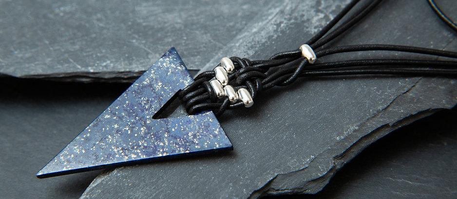 Zenith leather Weaved lapis lazuli triangle celtic choker by chopa tribe