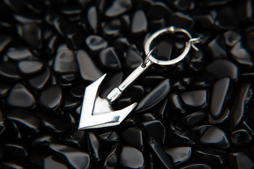 Mens arrow single earring and pendant. Double sided Sterling Silver arrow.
