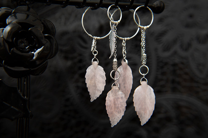 Tiva, single earrings, bali style with Rose Quartz leaves. 925 Sterling silver