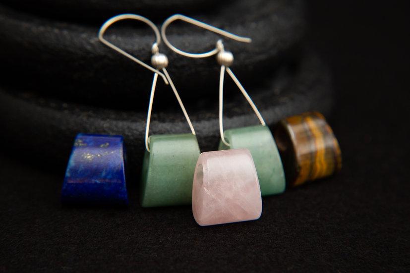 Valentina - Pyramid earrings with green Aventurine or Rose Quartz gemstones