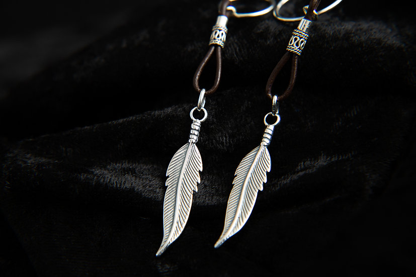 Vlora, Silver and leather long feather hoop tribal earrings. Sterling Silver