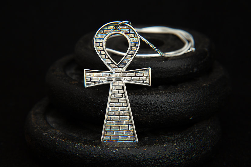 Adom. Sterling silver large Ankh pendant with brick wall design. Key of Life