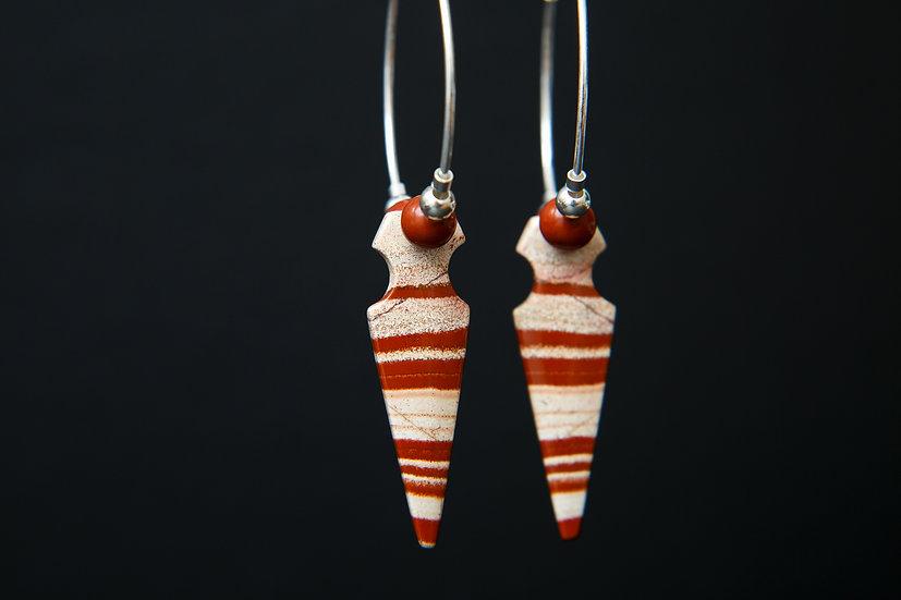 Red sediment Jasper, gemstone arrow large hoop earrings. 925 Sterling Silver.