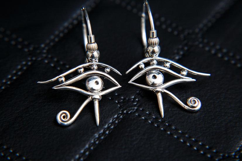 Amala. Sterling silver Eye of Horus / Ra beaded hoop earrings. 3 hoop Sizes.