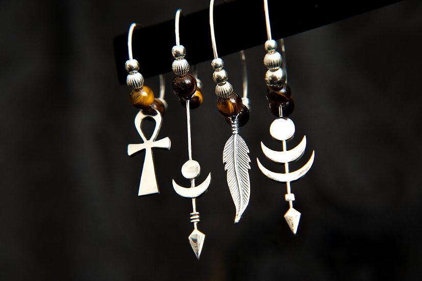 Mismatched tigers eye single hoop earrings. Ankh, arrow, gemstone moon earrings