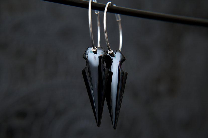 Black Obsidian gemstone arrow hoop earrings. Tribal 925 Sterling Silver.