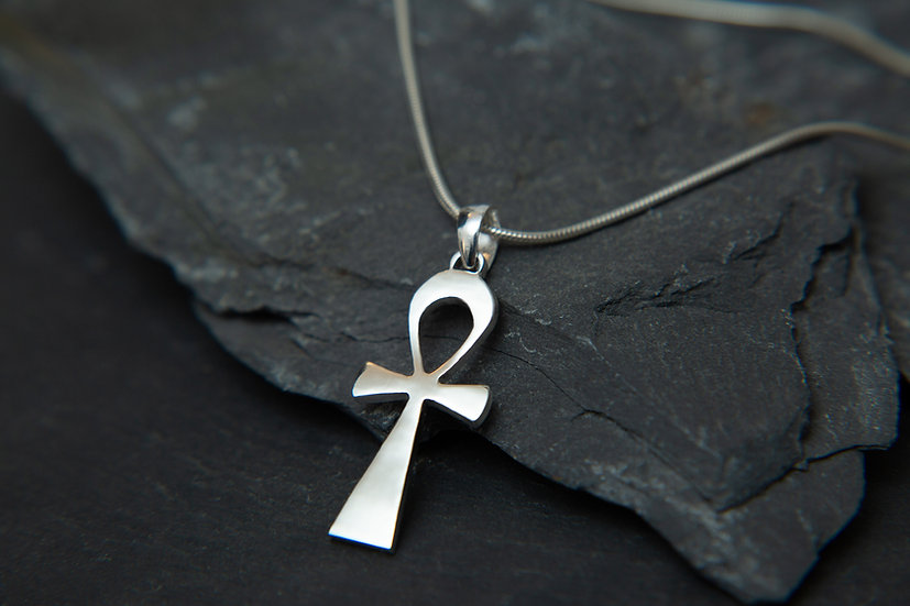 Ahava. Egyptian Ankh pendant. 925 sterling silver Key of Life pendant.