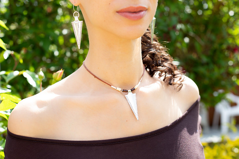 Hama, tribal leather necklace with 925 silver Tribal Arrow pendant