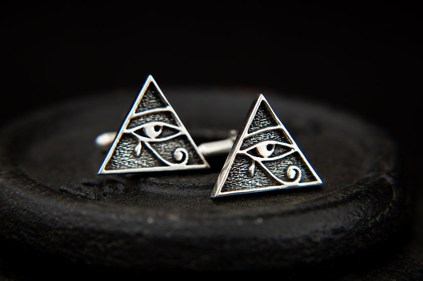Eye of Horus, Pyramid Cufflinks. Handcrafted 925 Sterling silver