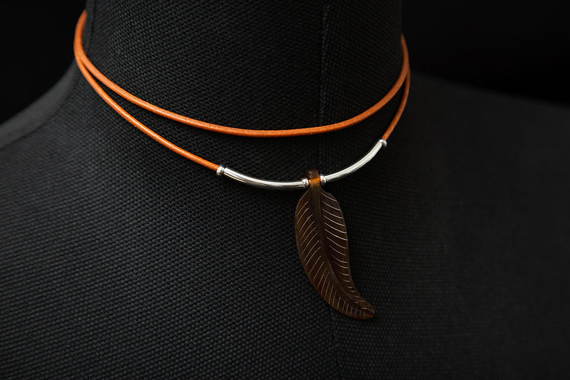 Saniya. 2 strand layered leather choker with feather / Leaf pendant. 925