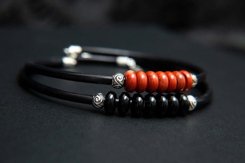 Dayo. Red and Black leather choker / collar, with Red Jasper & Black Agate.