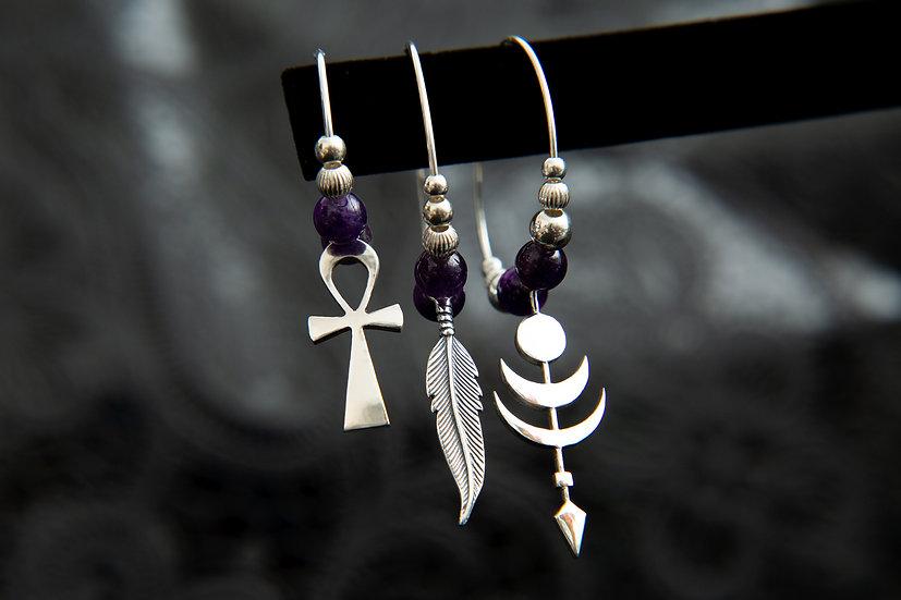 Tribal mismatched single hoop earrings. Ankh, arrow and gemstone moon earrings