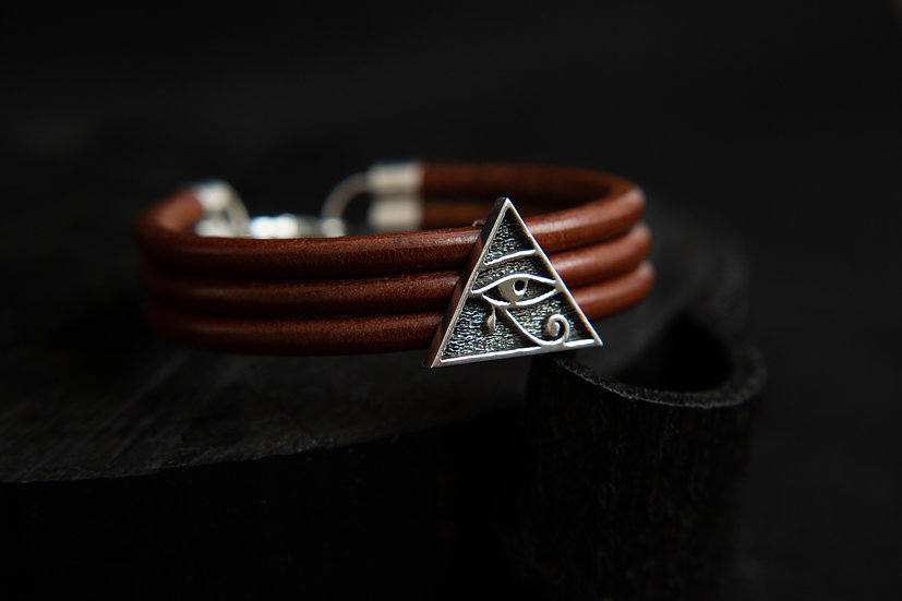 Thick Leather Cuff Bracelet with Eye of Horus Pyramid. 925 Sterling silver