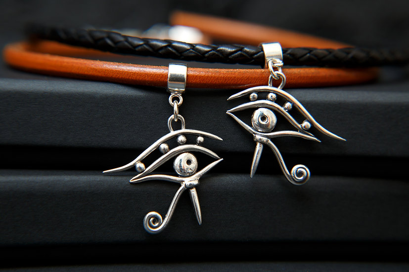 Amala. Silver Eye of Horus pendant with thick leather choker. 925 Sterling Silve