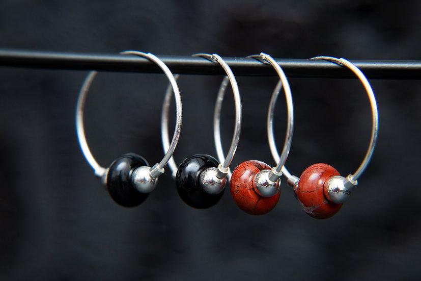 Dayo Red Jasper or Black Agate gemstone hoop earrings. 925 Sterling Silver.