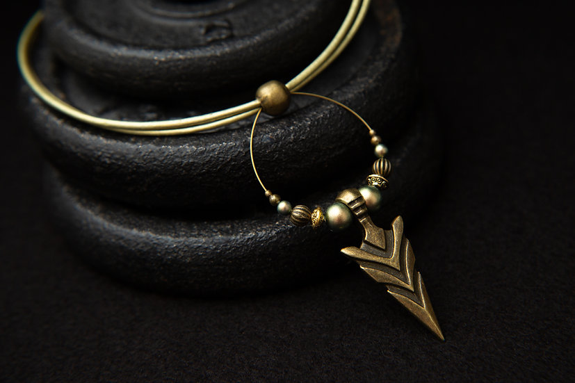 Athena Olive green Leather Tribal Choker with Native tribal Arrow Pendant