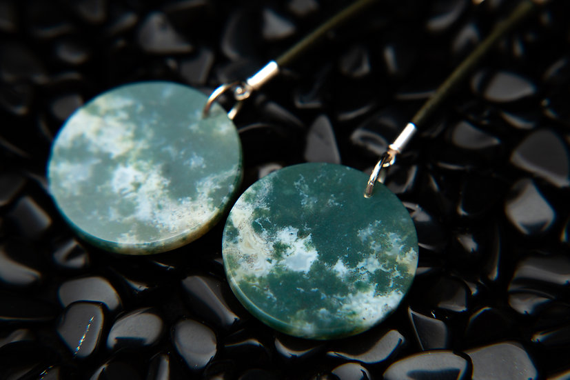 Gia 925 sterling silver earrings with beautifully cut round Moss Agate gemstones
