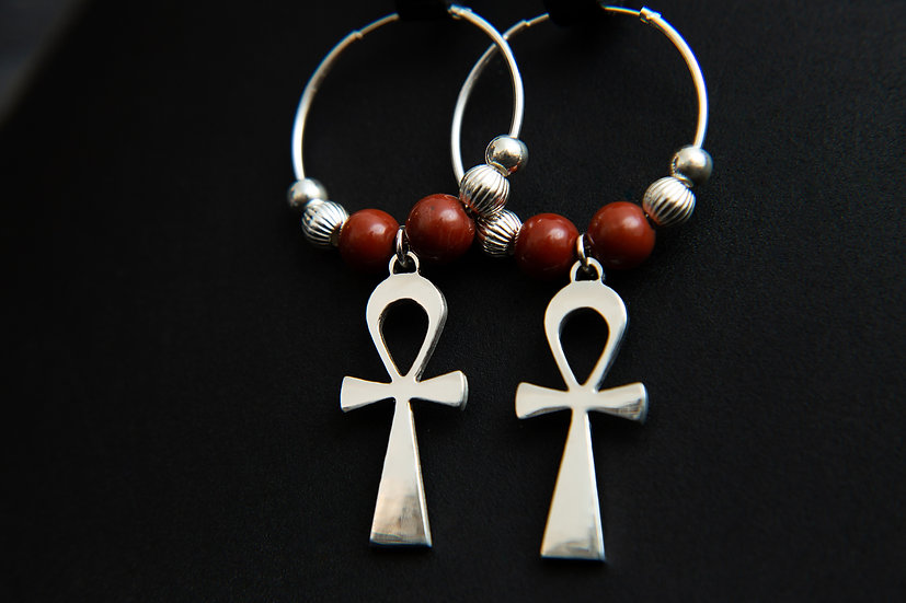 Ahava. Egyptian Ankh hoop earrings with 10 gemstone options. 925 Sterling Silver