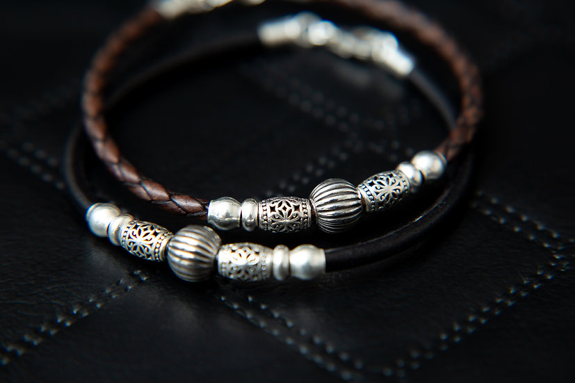 Kaga. Tribal Braided leather Bracelet or Anklet with Sterling silver beading.