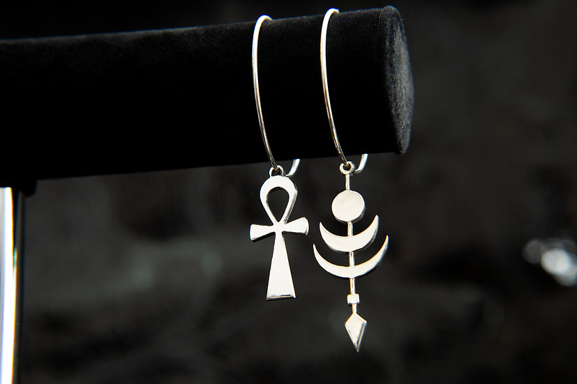 Cosmic Twilight Moon and Ahava Ankh mismatched hoop earrings. Sterling Silver