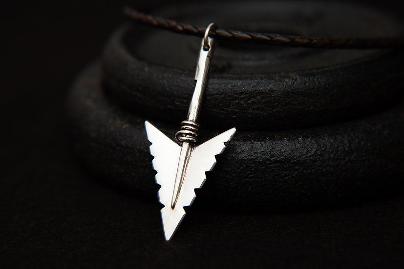 Cheveyo. Tribal silver Arrow pendant, variety of leather colours. Sterling Silve
