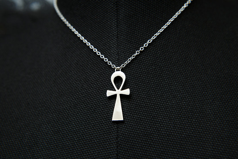 Ahava. Silver Egyptian Ankh pendant with fixed 925 sterling silver chain.