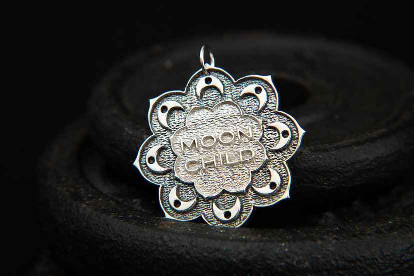 Moon Child, sterling silver Crescent Moon and clouds Mandala pendant