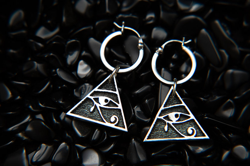 Eye of Horus, Pyramid dangle earrings with Creole hoops. 925 Sterling Silver