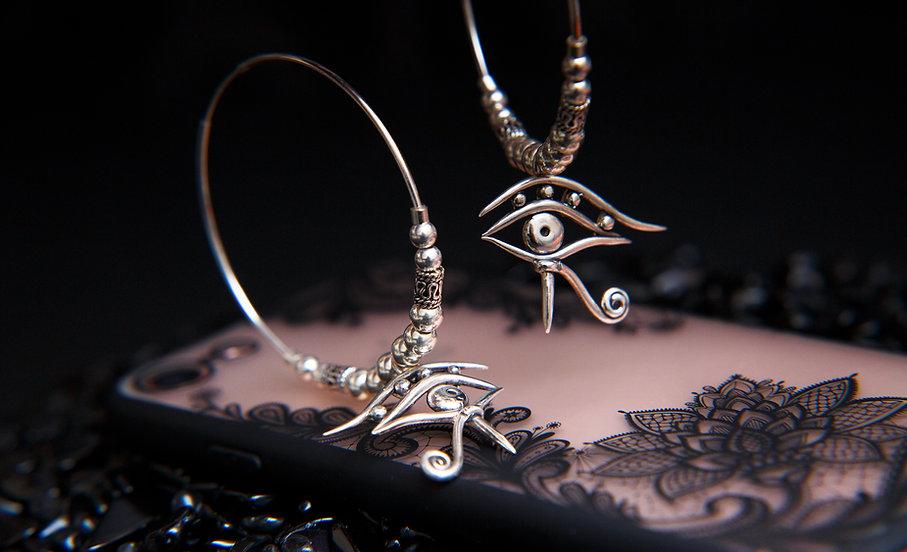 Amala, eye of horus silver earrings. Eye of Ra earrings by Molax ChopaTribe.