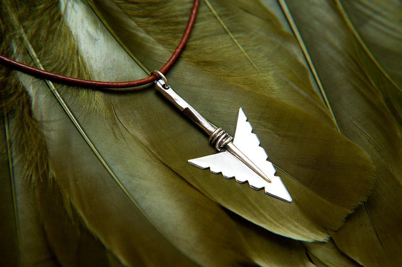 Cheveyo. Tribal silver Arrowhead, Hallmarked Pendant with Leather Chain