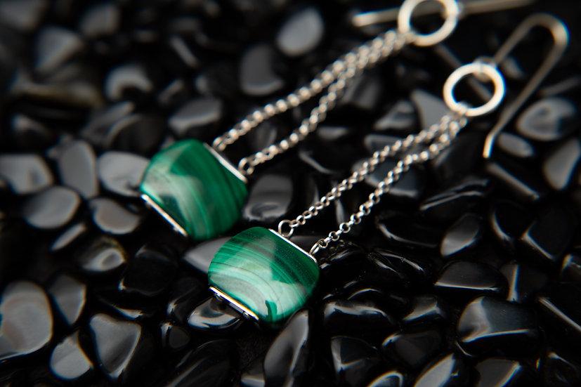 Chloe Natural Malachite dangle earrings in 925 sterling silver. Long earrings