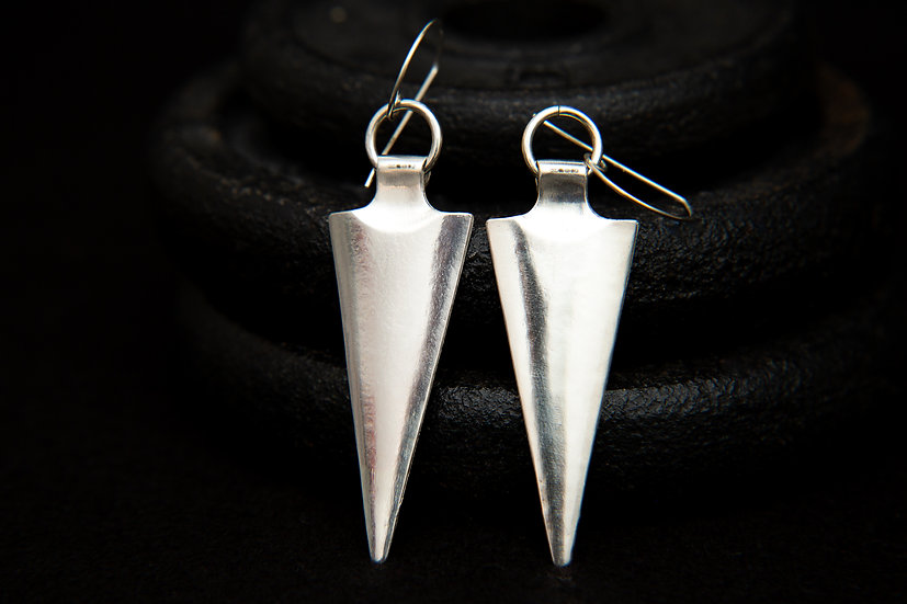 Catori 925 silver arrow / spearhead / Arrowhead Earrings. Handcrafted Silver