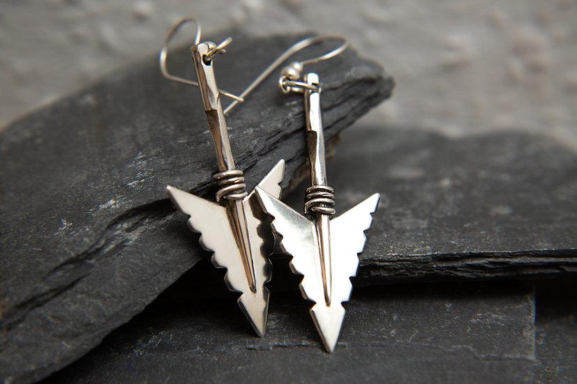 Cheveyo. Tribal Silver Arrowhead Earrings. 925 Sterling Silver arrow Hallmarked.