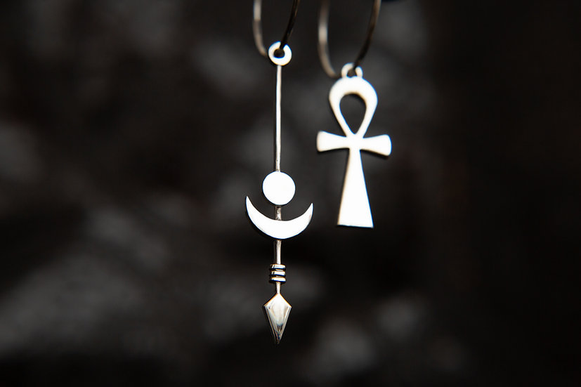 Midnight Eclipse Moon and Ankh mismatched hoop earrings. 925 Sterling Silver