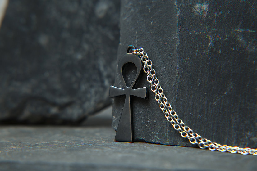 Ahava. Black Egyptian Ankh pendant with fixed 925 sterling silver chain.
