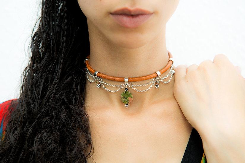 Heather.  Elegant Unakite gemstone and 925 sterling silver Choker